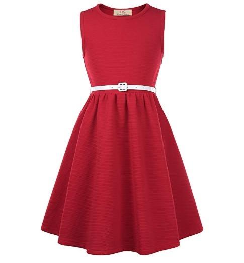 nuevo estilo 5f49c d9023 Vestidos Retro Sin Mangas Con Cinturon Para Niñas Rojo Jioy8