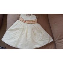 Vestido De Niña Formal De Lino Con Nido De Abeja
