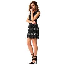 Exclusivo Vestido Negro Con Lentejuelas Talla M Elle851