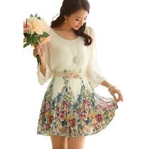 Vestido De Fiesta Blanco Floral Con Cinturon Nuevo En Stock