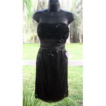Vestido Importado Negro Fiesta Matri Lentejuelas S O M Stock