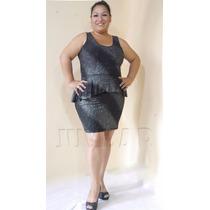 Vestido De Licra Con Vuelo Peplum- Brillantetallas Grandes -