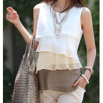 Oix Closet Top Blusa De Gasa Color Blanco/amarillo/marrón