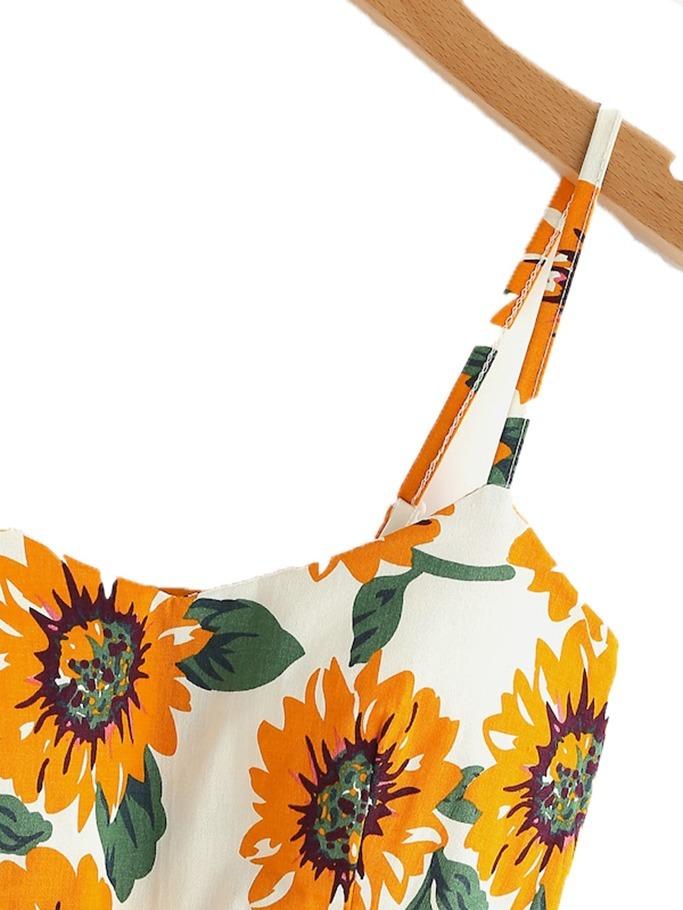 7403e06fadd7 Vestido Corto Girasoles Vestidos Casuales Fiesta Ropa Mujer