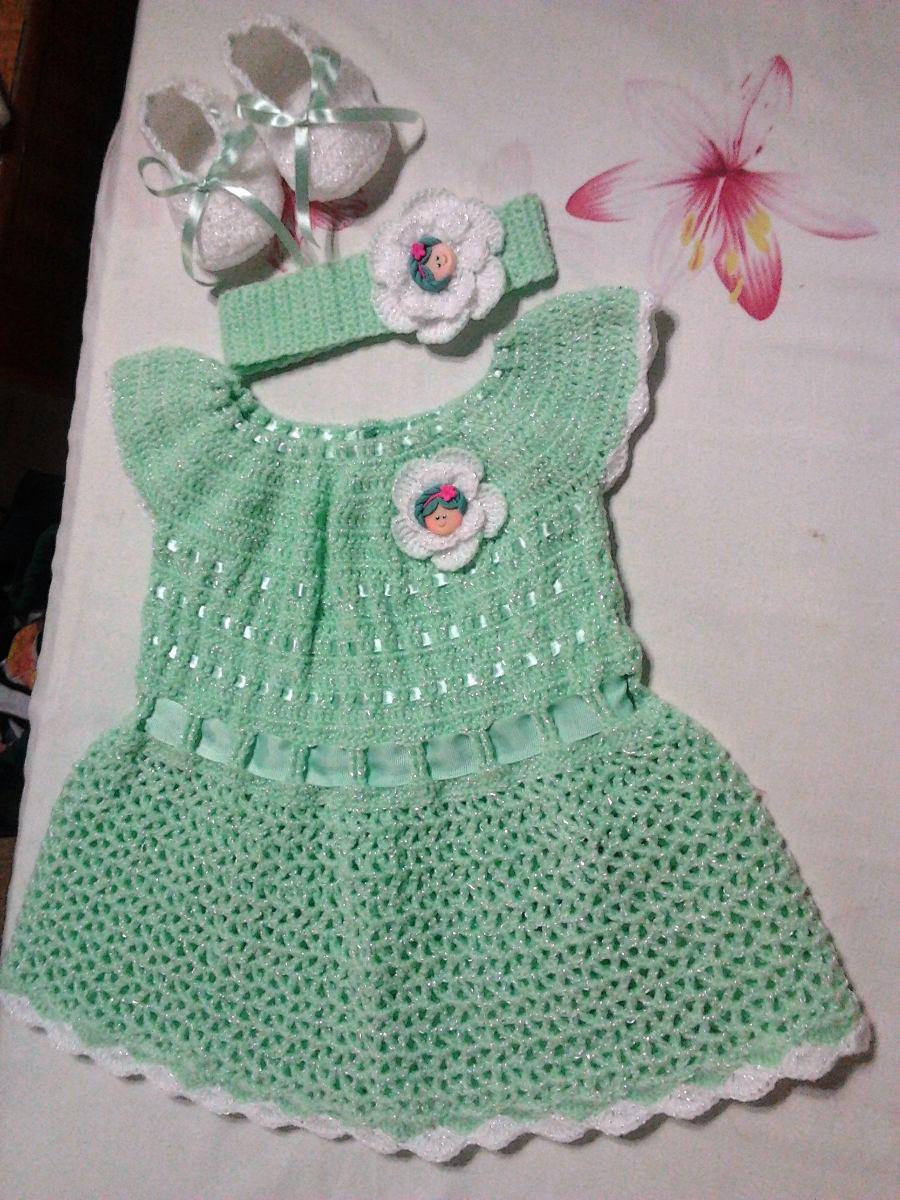 Vestidos tejidos 100 a mano de beb crochet mayor y detal bs 600 00 en mercado libre - Heces color verde bebe 2 meses ...