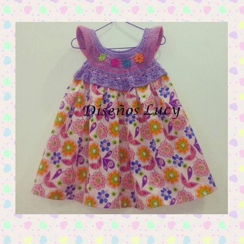 vestidos tejidos con tela para niñas