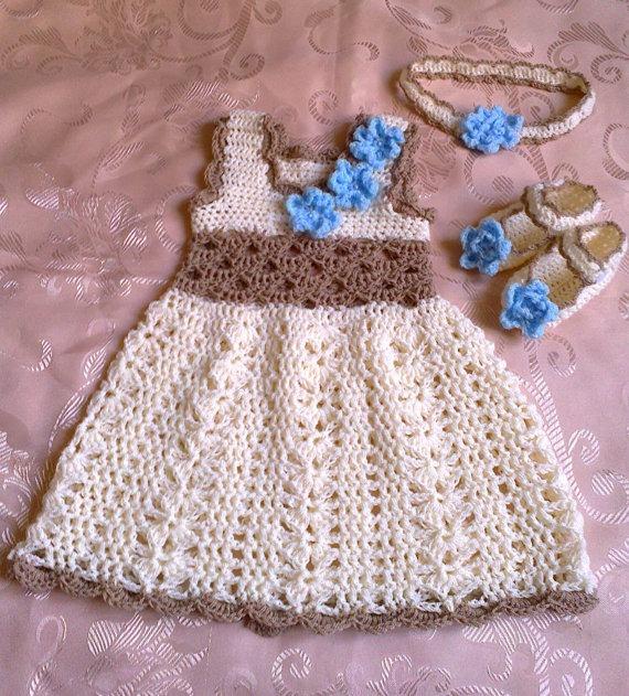 Vestidos Tejidos Para Bebes Por Encargo 03 Y 36
