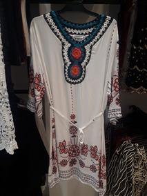 3290a95cb Vestidos Tunica Crochet Bordado Playa Boho Chic Playero