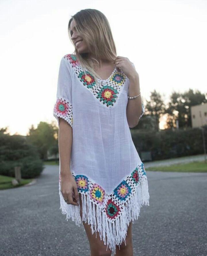 3ce6f0d6c vestidos tunicas playa tejidos crochet verano. Cargando zoom.