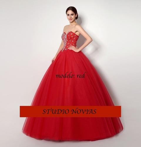 vestidos xv años quinceaños 15 años,rojo el buen fin promoci