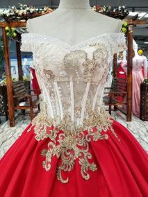 Vestidos Xv Años Quinceaños 15 Rojo Vestido Foto Real Wal