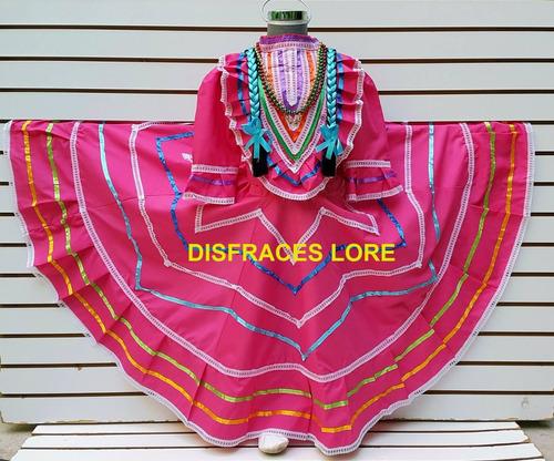 vestuario vestido jalisco s/ rebozo talla 1 a la 10 años r9