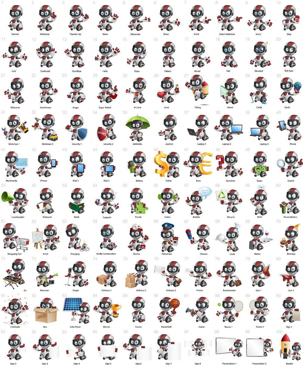 Vetores Baby Robot Robo Cartoon Character Vector Corel Draw
