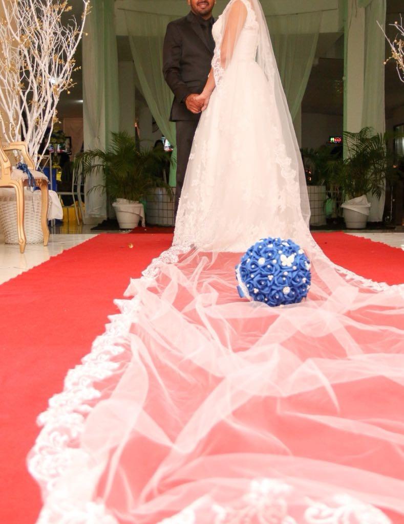 2178f68c1 véu casamento comprido noiva em tule todo bordado 5 m. Carregando zoom.