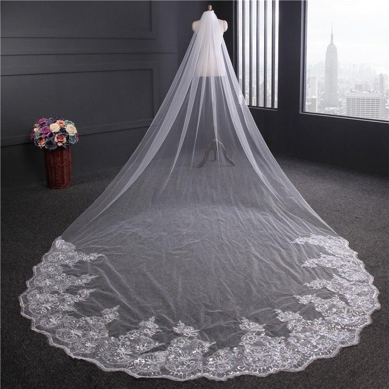 5b3482e57 véu catedral casamento noiva bordado e bem longo c  pente 4m. Carregando  zoom.