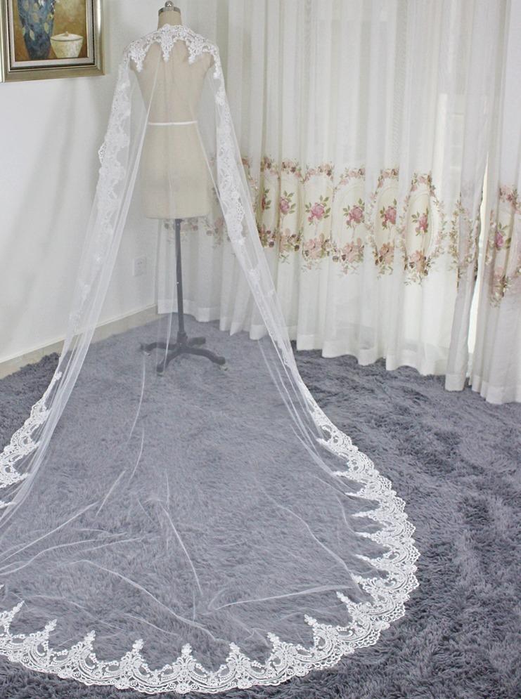 6a54779e3 véu de noiva mantilha longo 3 metros renda bordada. Carregando zoom.