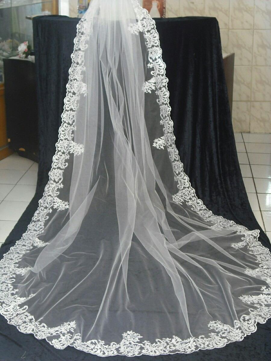 f1bf9b57a véu longo bordado para noiva. Carregando zoom.