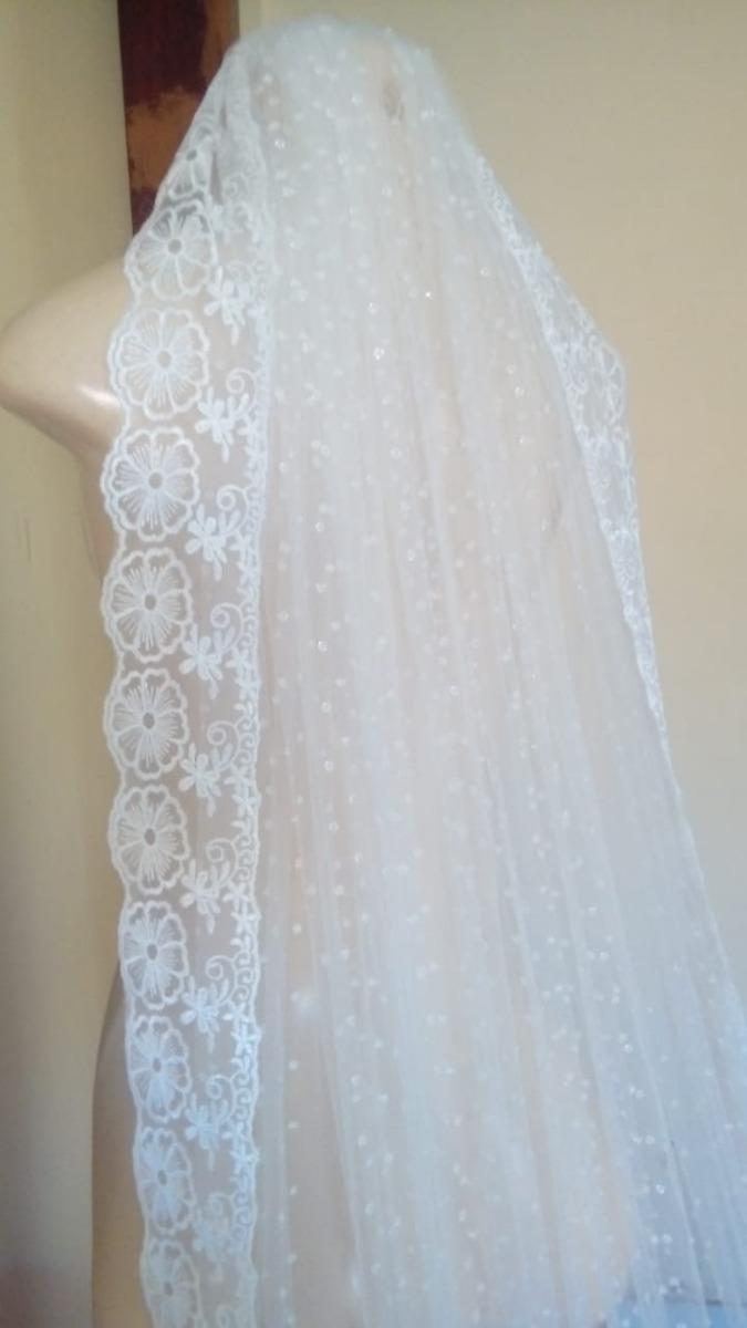 bcdab511a véu noiva mantilha 3m renda brilho catedral longo bordado. Carregando zoom.