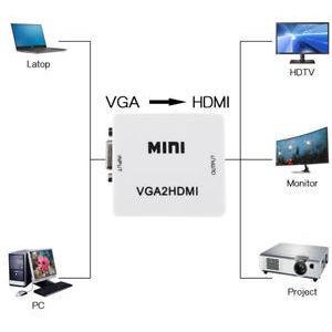 vga a hdmi mini video full hd 1080p audio conversor adaptado