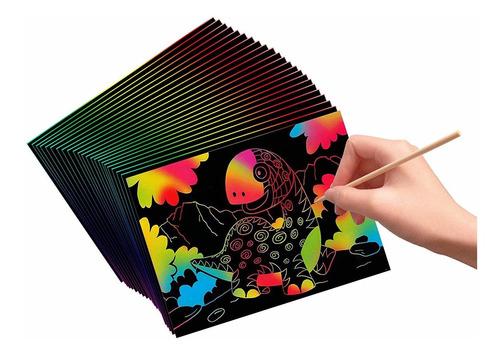 vhale 30 hojas de papel de arte para rascar y dibujar con 12