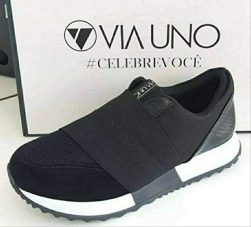 via uno champión zapatilla plataforma negro- confort- envíos