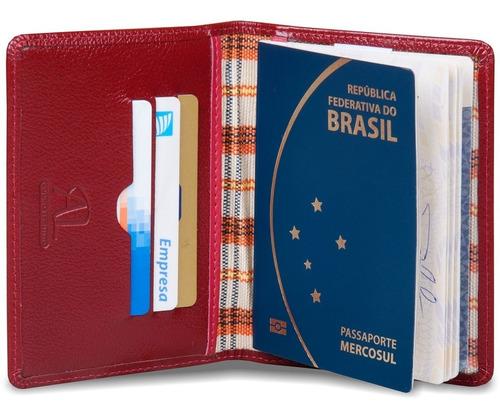 viagem passaporte documento couro legitimo artlux 400-01