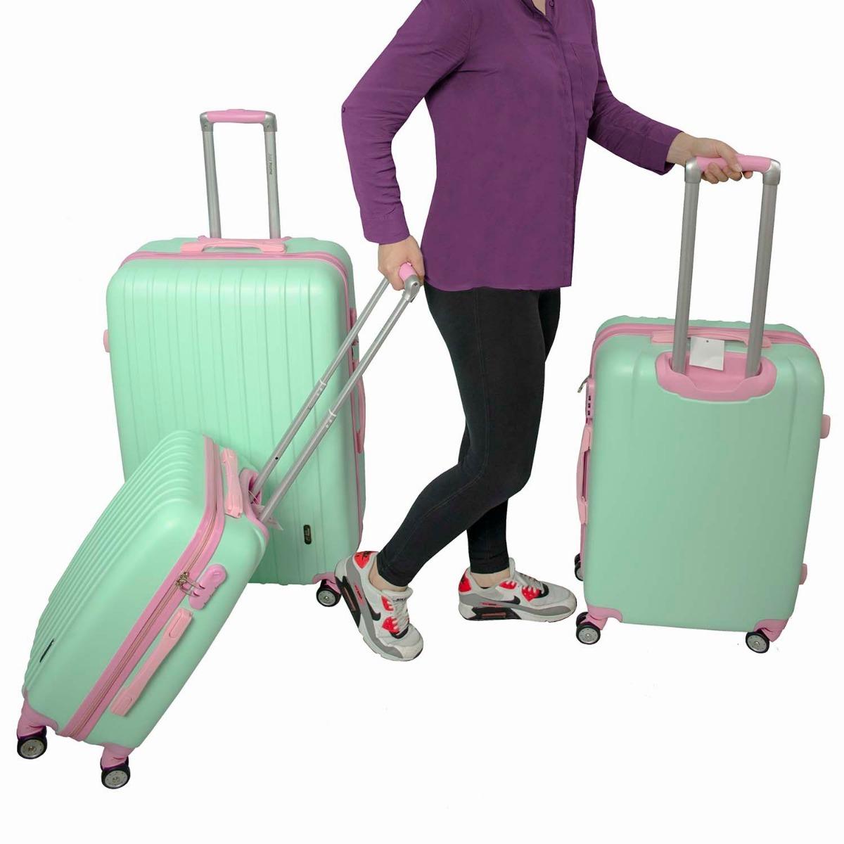 ec644e9ff Cargando zoom... juego 3 maletas rigidas viaje equipaje juvenil vacaciones
