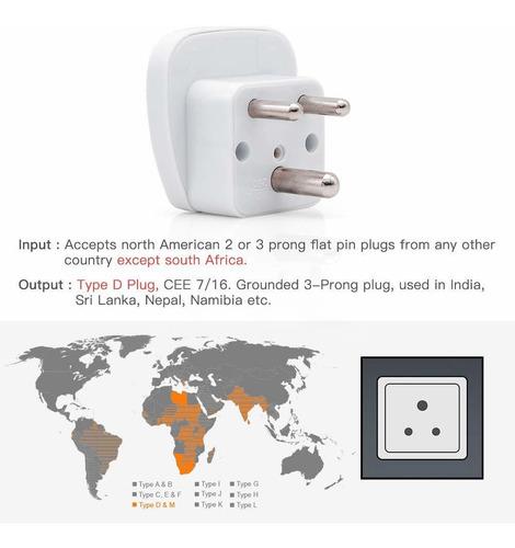 viajes adaptador de enchufe para la india, universal plug gr