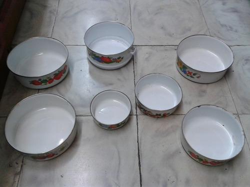 vianda o porta comida antiguo hierro y porcelana  x 7