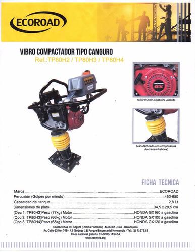 vibrocompactador canguro nuevo ecoroad motor honda gx-100