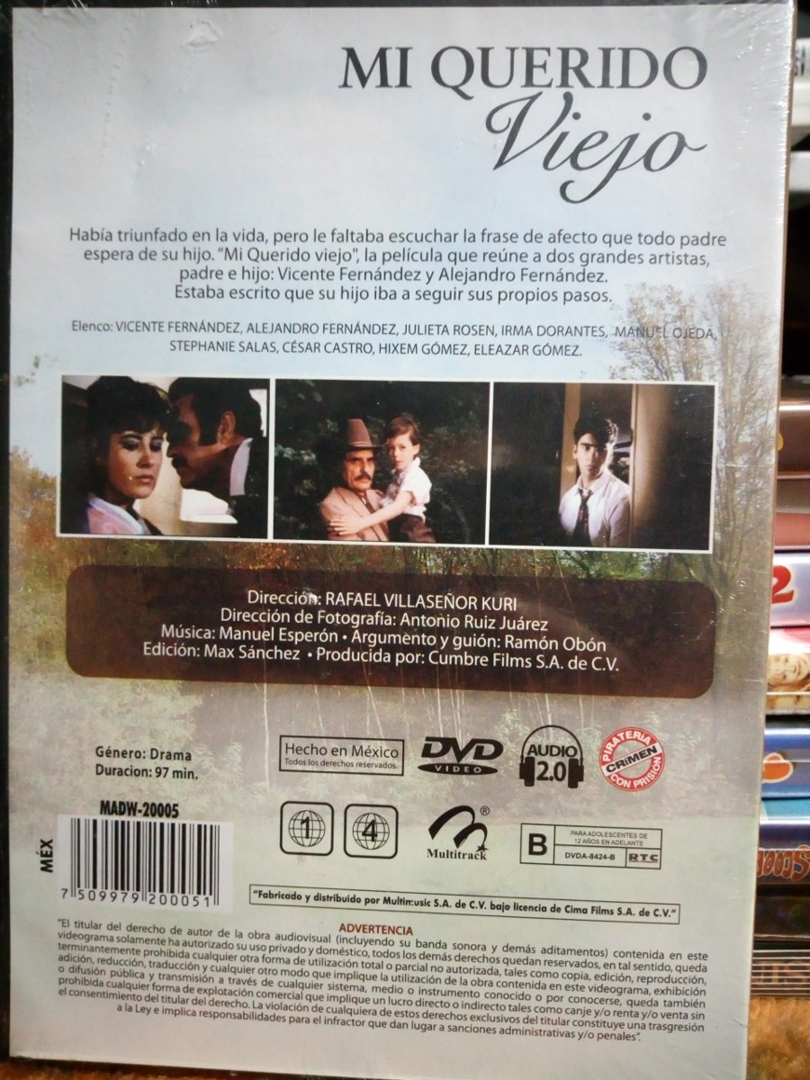 Vicente Fernandez Mi Querido Viejo Pelicula En Dvd 9900 En