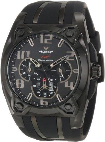 viceroy men.s 47617-55 black ip chronograph rubber watch