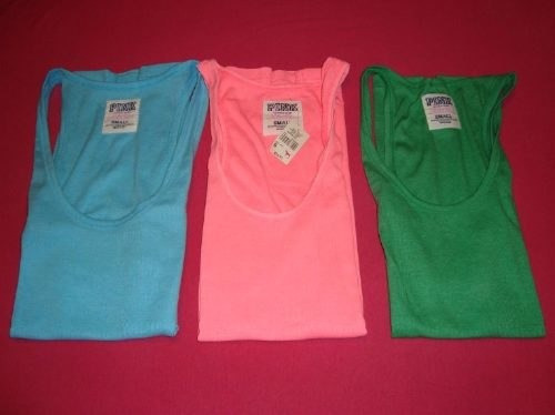 victoria's secret musculosa pink s turquesa-verde-rayas