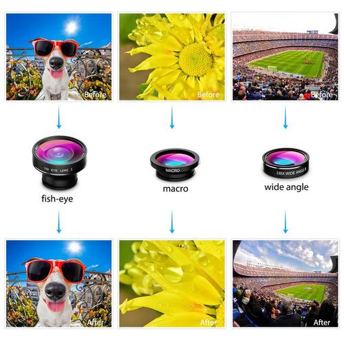 victsing lente de cámara fisheye 3 en 1, lente macro, lente