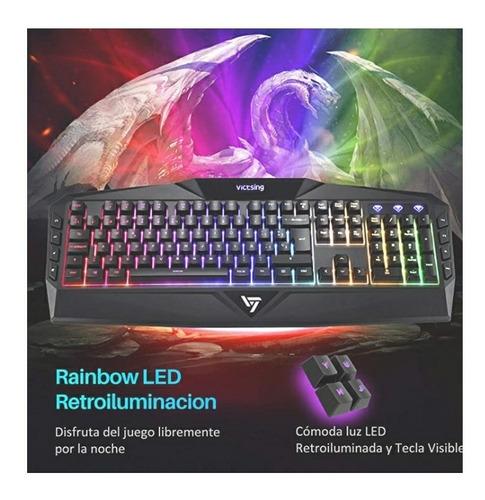 victsing teclado gaming español usb rainbow led retroilumina