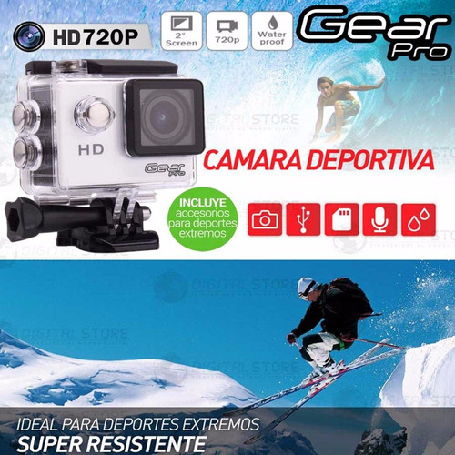 video camara deportiva sumergible go gear pro hd lcd casco