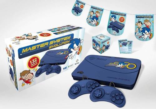 vídeo game master system evolution blue 132 jogos tectoy