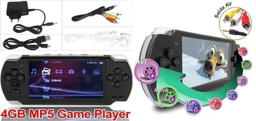 video game portátil multimedia player mp3 mp4 mp5 com jogos