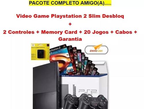 video game ps2 desbloqueado + 20 games + memory + garantia!