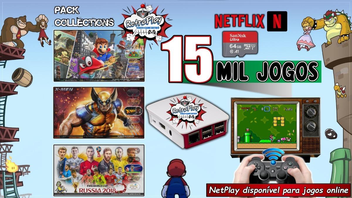 Vídeo Game Retrô Raspberry Pi3 15 Mil Jogos 128gb