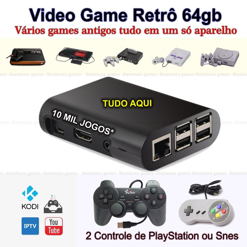 video game retro 64gb + 10 mil jogos + multimídia brinde