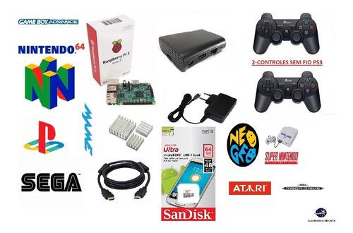 vídeo game retro nintendo raspberry 64gb 2 controles sem fio