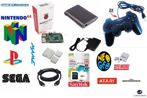 vídeo game retro raspberry pi3 com recalbox 32gb 2 controles