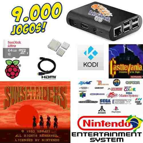 vídeo game retro recalbox raspberry 64gb + kodi de brinde