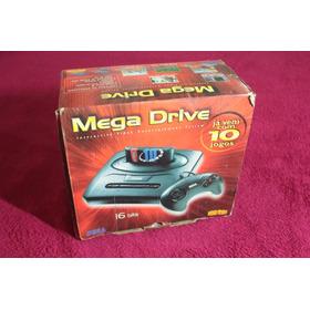 Video Game Sega Mega Drive 3 Console Com Caixa 10 Jogos