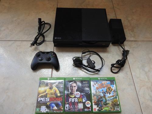 video game xbox one 500 gb com 1 controle e 3 jogos