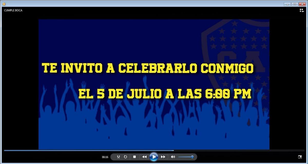 Video Invitacion De Cumpleanos Whatsapp Facebook Futbol Boca 300