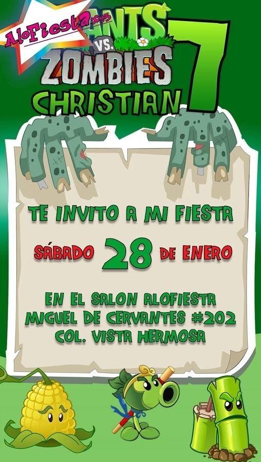 Video Invitación Plants Vs Zombies Plantas Y Zombies