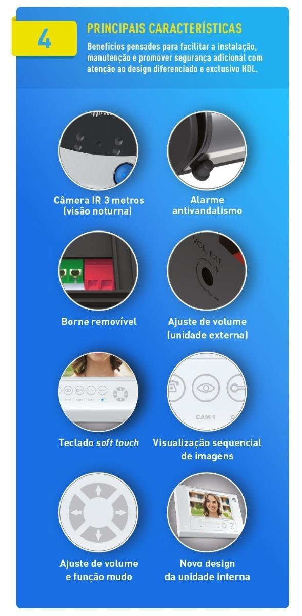 3b83ce1ff Vídeo Porteiro Hdl Com Tela Touch Screen Sense Seven Branco - R  799 ...