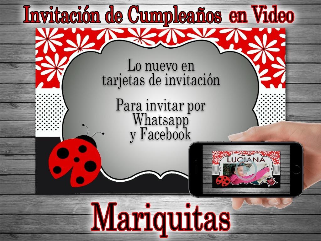 Video Tarjeta Invitación Cumpleaños Mariquitas 2 Fotos